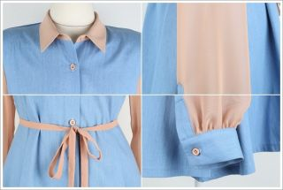 Denim Blue Jeans Chiffon Sleeve Shirt Womens Sheer Button Long Blouse