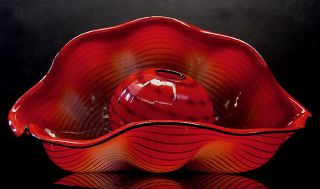 DALE CHIHULY original signed CHINESE RED SEAFORM PAIR Glass Hand Blown