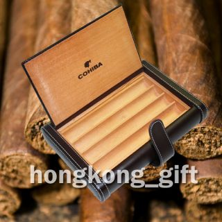 COHIBA Cigar Case Brown Leather Wood Box Travel Kit Holder HKG 3061