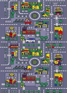Childrens Playful City 7x10 Rug Cars Buses Roads Actual Size 72x102