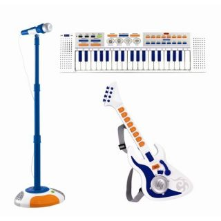 Kids Working Toy Guitar Piano Keyboard Microphone Stand Toddler