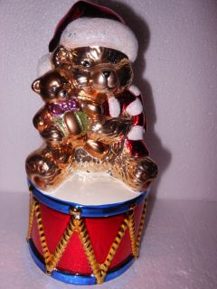 NICE CHRISTOPHER RADKO CHRISTMAS ORNAMENT CANDY DISH BOX BOWL CANDLE