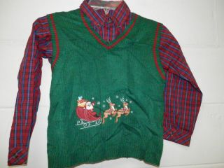 Class Club Boys Size 7 Christmas Holiday Sweater Vest Button Up Dress