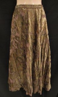 CREEK~Sheer Taupe Olive Velvet Flowers Calf Full Formal Church Skirt~L