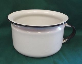 Vintage Porcelain Enamel Ware Chamber Pot White Double Face Child