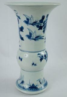 Antique Chinese Kangxi Mark Blue White Porcelain Lotus Bird Vase