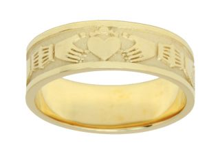 Silver or Yellow Gold Irish Celtic Claddagh Wedding Ring Band