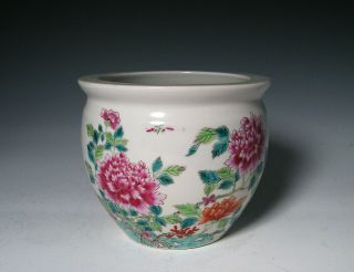 ANTIQUE CHINESE FAMILLE ROSE PORCELAIN PLANTER BOWL WITH FLOWERS AND