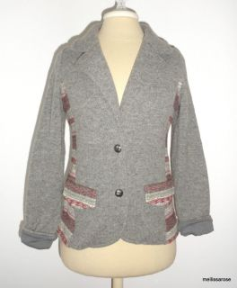 Anthropologie Ett Twa CHINLE Cardigan Gray Knit Wool Blend Sweater