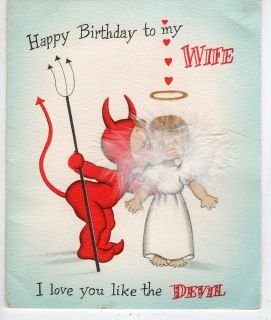 Card Wife Happy Birthday He Devil She Angel Feather Wings