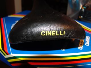 NOS ♧ CINELLI UNICANITOR LEATHER BICYCLE SADDLE PISTA TRACK BIKE