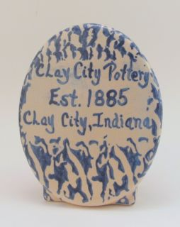 Clay City Pottery Cobalt Blue Spatterware Brochure Holder