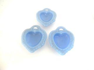 Mosser Glass Periwinkle Blue Footed Heart Salt DIP Set of 3