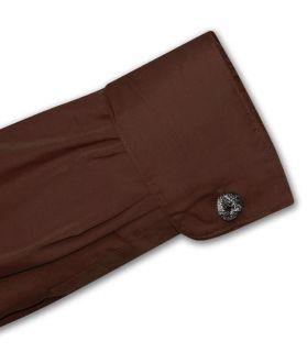 Mens Chocolate Brown Dress Shirt Cnvrtbl Cuffs 16 32 33