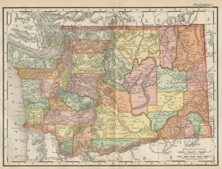 State Map Authentic 1895 Counties Cities Towns Railroads Topog