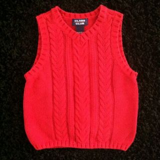 Toddler Boys Class Club Sweater Knitted Vest Red Holiday Top 4 5