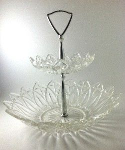 Vintage Federal Clear Glass 2 Tier Tidbit Serving Bowls Petal Pattern