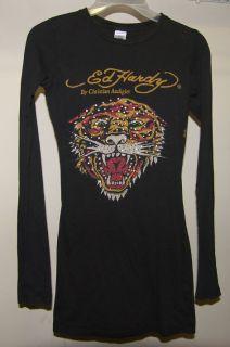 Christian Audigier Ed Hardy Rhinestone Embellished Black Tiger Tee
