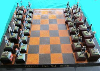 RARE Vintage American Civil War Commemorative Chess Set Lead Pieces