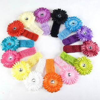 Baby Girls Crochet Headband with Daisy Flower Hair Clip Newborn
