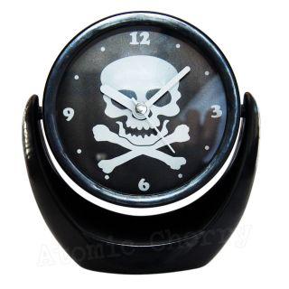 Mini Skull Clock Mirror Rockabilly Punk Gothic Tattoo Retro Makeup