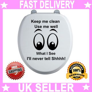Toilet Seat Funny Keep Me Clean Sticker Decal Art Vinyl Graphics Quote