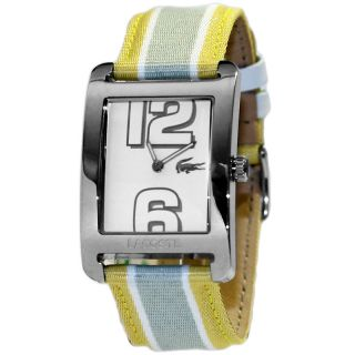 Ladies New Analog Steel Watch 2000694 Yellow Grey Fabric Leather Band