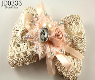 Girls Womens Light Pink Flower Bowknot Barrettes Hair Pin Hair Clips
