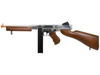 Thompson M1A1 Airsoft Submachine Gun Clear Wood Semi Full Auto