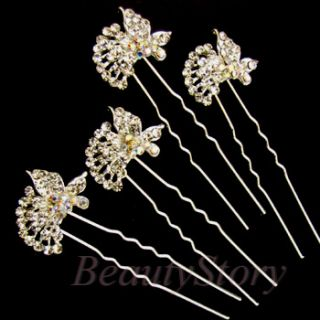 Item  Austrian rhinestone crystal butterfly hair pin fork