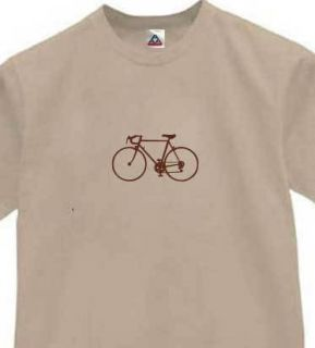 Classic Bicycle T Shirt Bikes Race Retro Tee Khaki L