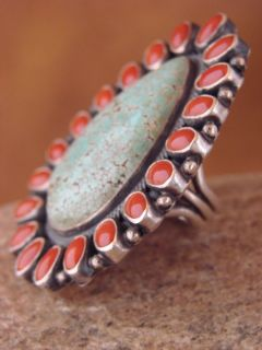 Indian Sterling Silver Turquoise & Coral Ring by Kirk Smith Size 5.5