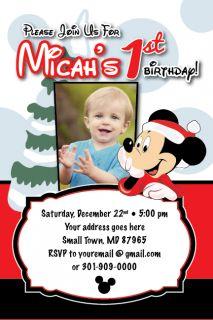 Birthday Invitation Holiday Christmas Photo Card Minnie 1st