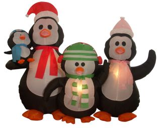 Inflatable Penguin Family Lighted Christmas Yard Art Decoration