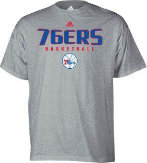 Philadelphia 76ers Absolute Ash Grey Adidas Logo T Shirt Mens Sz s