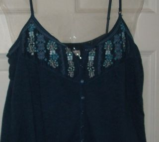 Gorgeous Womens Large G Aeroposale Blue Embroid Bead Flower Srap op