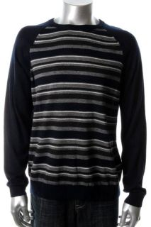 Club Room NEW Blue Striped Merino Wool Raglan Long Sleeve Crewneck