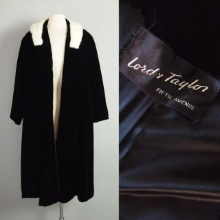 Vtg 60s Lord Taylor Velvet Coat White Mink Fur Collar Swing Dress