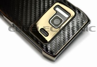 New Black carbon fiber chrome hard case back cover for nokia N8