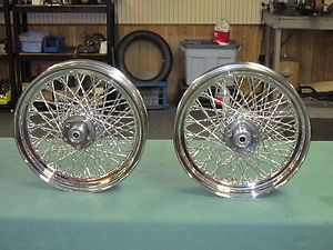 PAIR   80 SPOKE WHEELS 16 CHROME FOR HARLEY DAVIDSON NEW
