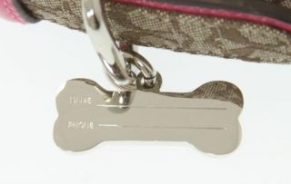 Coach Brown Monogram Pink Patent Leather Dog Collar New