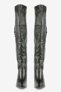 JOIE WOMENS COACHELLA OVER THE KNEE BOOTS BLACK LEATHER EUR SZ 38 5 US