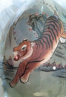 Blown Glass reverse painting Japanese Tiger VINTAGE.Beautiful/ hand