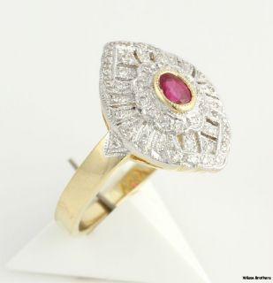Ruby & VS2 SI1 Diamond Cocktail Ring   14k Yellow White Gold A++
