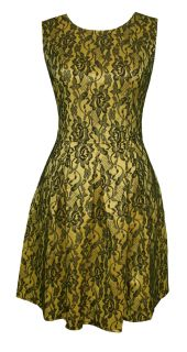 Shimmering Yellow Black Lace Party Cocktail Dress Millicent Size 14