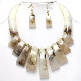 Super Chunky Natural Gold Bib Statement Earrings Necklace Set Costume