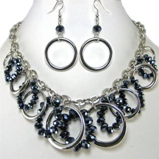 Chunky Multi Circle Crystal Bead Silver Earrings Necklace Set Costume