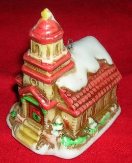 LEFTON * Colonial Village Church *CHRISTMAS* Porcelain Ornament