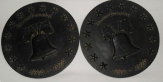 Cast Iron Bicentennial Wall Plaques Vintage Antique Liberty Bell