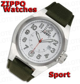 Zippo White Face Sport Watch OD Green Fabric Band 45013 New